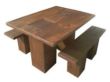 Chunky Wooden Contemporary Dining Table and Chairs