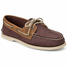 Brand New Men's Sperry A/O 2-Eye Boat Shoe Burgundy/Tan MSRP $90 SIZES 9-12