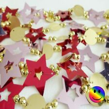 Foil Bead Christmas Decoration Garland 2.7 Metres 9ft - Red, Pink & Gold