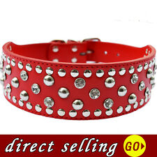 Crystal Studded Large Dog Collar Personalized 2 Inch Wide Faux Leather Pitbull