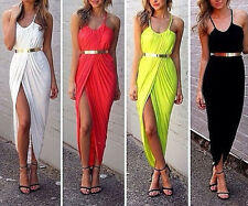 Sexy Womens Asymmetrical Hem Bodycon Fit Cocktail Evening Long Gown Dress