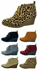 NEW Women Platform Wedge Heel Lace Up Ankle Shoes Bootie Boots TOM-11 color
