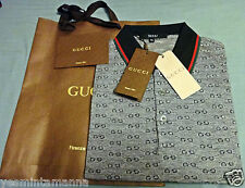 Authentic Gucci Grey Piqué GG Jacquard ShortSleeve Polo ,LARGE & XLG T-SHIRT NEW