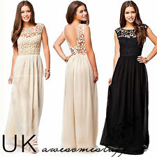 UK Formal Long Lace Women Prom Evening Party Bridesmaid Wedding Maxi Dress