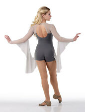 Contemporary INIFINITY Ballet Dance Costume w/ Drapes Gray Acro Biketard 6X7-3XL