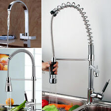 Swivel Spout Kitchen Pull Out Faucet & Dual Sprayer Vessel Sink Mixer Tap