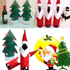 Household Xmas Tree Decorations Coat Hat Wine Bottle Covers Bowknot Ornaments