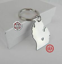 Brushed Stainless Steel (316) I heart Michigan Keychain made in USA