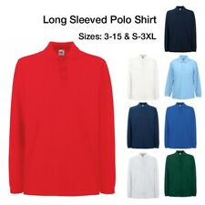 Ages 3-15 & S-3XL Plain Long Sleeve Polo Shirt School Sports Boys Mens Casual