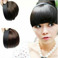 Chic Women's Girl's Neat Hair Extensions Bangs Fringes with Hair Bands Headband