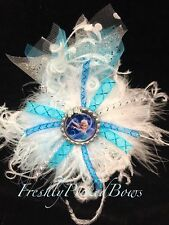 FROZEN inspired hair bow with curly ostrich, bottle cap and tulle