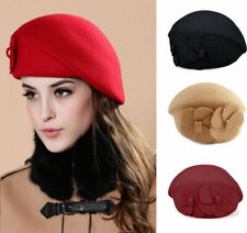 NEW Fashion Lady Women Wool Warm Felt French Flower Beret Beanie Ski Hat Tam Cap