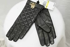 Michael Kors Leather Quilted Padlock Gloves Black Gold MSRP $98 FREE SHIP NEW