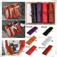 New Retro Roll PU Leather Make-Up Cosmetic Pen Pencil  Box Case Pouch Purse Bag