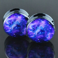 Pair Acrylic Ear Plugs Flesh Tunnels Stretchers Expanders Screw Purple Cosmic