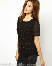 Karen Millen Black Studded Gem Short Sleeve Silk Chiffon Blouse Tunic Top 6 - 16