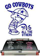*BUY 2,GET 1 FREE**COWBOYS PEE ON CAR DECAL VARIOUS SIZE & COLOR WINDOW  FLAG