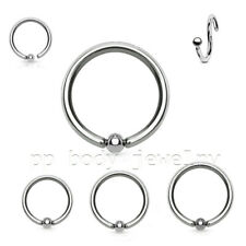 "1pc.20g~1/4"", 5/16"", 3/8"" with 2mm Fixed Bead 316L Steel Seamless Nose Hoop Ring"