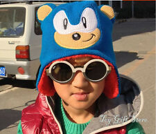 Cute Super Sonic the Hedgehog Beanie Knit Childrens Winter Earflap Hat Cap New