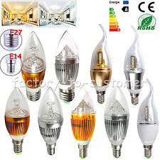 Dimmable 6W 9W 12W E14 E27 LED Candle Light Chandelier Lamp Bulb Golden White