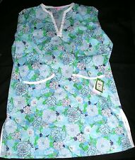 NWT LILLY PULITZER TUNIC BEACH COVER UP SWIM NIGHTGOWN TROPICAL FLORAL BLUE