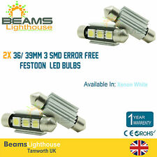2x 3 SMD LED 36mm / 39 millimetri gratuita di ERRORE CAMBUS Festoon BULB FORD FIESTA FOCUS GALAXY