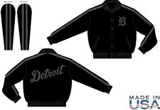 Men's Authentic MLB Detroit Tigers Wool Varsity Jacket Made in USA black/black