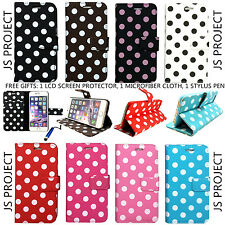 New Polka Dots Card Holder PU Leather Wallet Case For iPhone 6 & iPhone 6 Plus