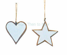 Chic Shabby Wooden White Glitter Sparkle Star Heart Christmas Tree Decoration