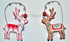 Gisela Graham Wooden Reindeer Hanging Xmas Tree Decoration Chic Shabby Christmas