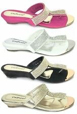 Womens Low Wedge Sparkling Faux Suede Padded Insole Summer Shoes Sandals