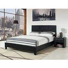 Stratus Upholstered Bed with headboard platform frame leather foundation NEW