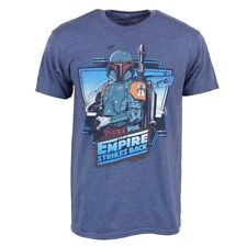 Mens Star Wars Boba Fett The Empire Strikes Back T Shirt Blue NEW Madalorian