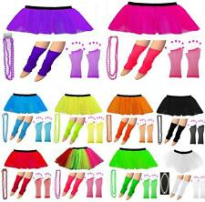 80s NEON TUTU SKIRT LEGWARMERS GLOVES BEADS FANCY DRESS HEN PARTY COSTUMES