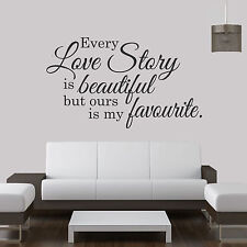Every Love Story Is Beautiful... Quote Vinyl Wall Art Sticker,Decal Any Room