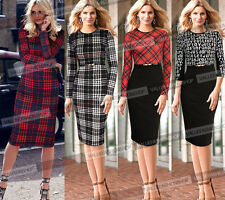 Womens Celebrity Winter Tartan Tunic Work Party Sheath Pencil Bodycon Dress 178