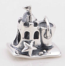 Sterling Silver 925 European Charm Day At The Beach Sand Castle Bead 88558
