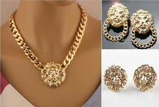 Lion Head Pendant Gold Flat Chain Statement Choker Chunky Necklace & Earring