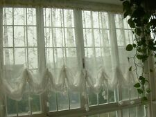 Fairy Tale Shabby LargeSize Rod Pocket/Pinch Pleated White Pull-up Sheer Curtain