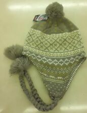 Ladies Peruvian Winter Bobble Hat, Tassle + Plated Detail. One size
