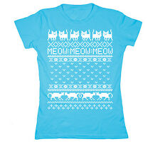 Ugly Sweater Cats Meow Cat Print Christmas Party Humor Cool Funny Womens T-Shirt