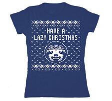 Have A Lazy Christmas Sloth Ugly Sweater Party Holiday Novelty - Womens T-Shirt