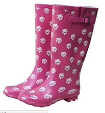 Ladies Girls Wide Fit Calf Wellington Wellies Pink & White Paw Print shoe