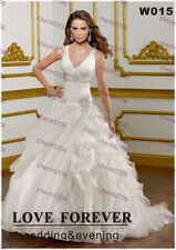 Stock V-Neckline Spaghetti White/Ivory Wedding Dresses Bride Formal Ball Gown