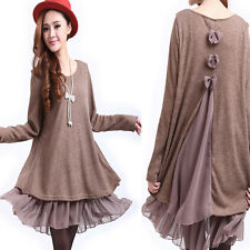 Women Bow Tie Ruffle Top Scoop Neck Long Tunic Plus Size Day Shift Sweater Dress