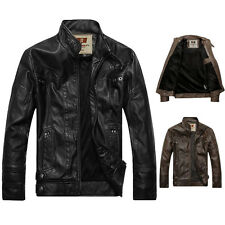 New Fashion Men's Leather Motorcycle Standing Collar Jackets Coat Black/Brown