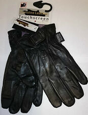 MENS BLACK LEATHER TOUCH SCREEN SHORT STRAP THERMAL INSULATED FLEECE GLOVES