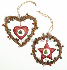 Chic Shabby Twig Wreath Jingle Bells Christmas Tree Heart Hanging Decoration