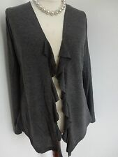 New Maurices Gray Feminine Ruffle Open Front Cardigan Sweater  0X 1X  Plus
