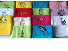 Ideal Birthday gift, personalised embroidered animal face flannel/cloth, inc P&P